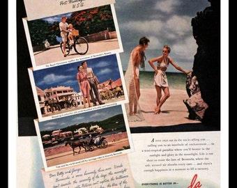 1947 Bermuda Vacation Ad - Wall Art - Home Decor - Beach - Island - Retro Vintage Travel Advertising