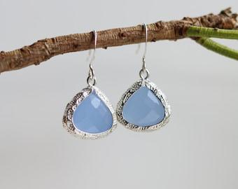 Blue Chalcedony Earrings Silver Dangle Earrings - Stone Earrings - Drop Earrings - Birthstone Earrings - Blue Jewelry - Chalcedony Earring