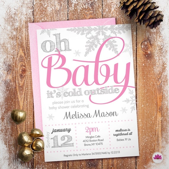 baby shower invitation winter wonderland theme digital,
