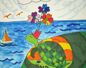 "Terry the Turtle Goes To The Sea 8x10"" PRINT"