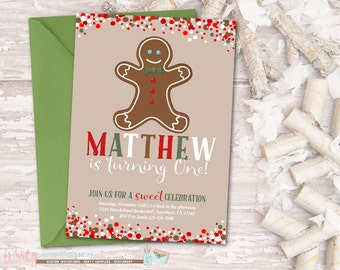 Gingerbread Invitation, Gingerbread Birthday Invitation, Winter Birthday Invitation, Christmas Birthday Invitation, Gingerbread Man Party