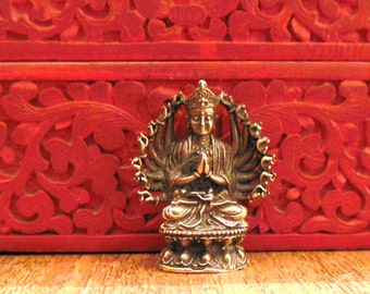 BUDDHA STATUE Tiny brass Deity multi arm, seated multi arm Guan Yin, thousand arm Guanyin Avalokitasvara, Avalokiteshvara, Saturday Buddha