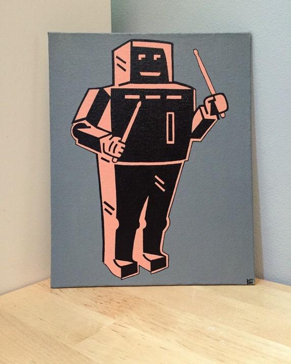 "Robot Custom Pop Art Painting 16""x20"" Canvas"