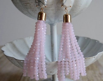Natasha Bead Tassel Earrings - Baby Pink