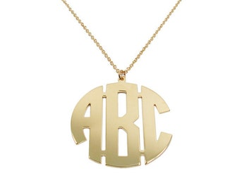 "Gold monogram Necklace. 2"" Personalized Initial monogram necklace. Gold plated . Monogram gold necklace. Initial necklace. name necklace"
