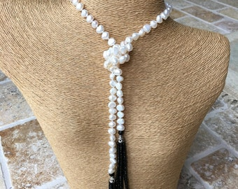 Fresh Water Pearl Wrap Around Necklace with Black Beaded Tassel On sale! was 44.00 will go quick!