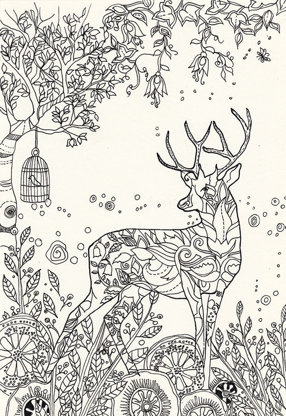 Magic Deer Printable Adult Coloring Page to print and color