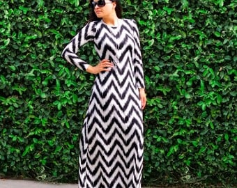 Long Dress with Sleeves - Plus Size - Floor Length Maxi Dress - Long Sleeves - Crew Neck Dress - Loose Dress - Petite Dress - Tall Clothing