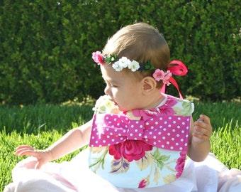 Rose Bow Bib / baby bib / baby girl bib