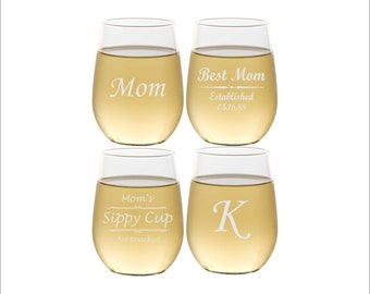 FOUR Custom Wine Glasses Mothers Day Gift, Personalized Etched Stemless Wine Glasses for Mom or Grandma, Mom Gifts, Mother's Day Present