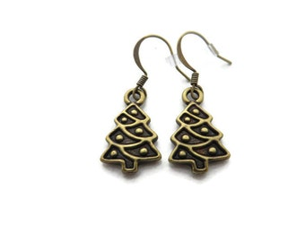 Christmas Tree Earrings, Christmas Tree Dangle, Christmas Earrings, Brass Christmas Tree Charm, Holiday Earrings,  Christmas Jewelry, Xmas