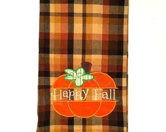 Fall Applique, Fall Applique Tea Towel, Fall Kitchen Towel, Thanksgiving Applique Tea Towel, Fall Tea Towel, Pumpkin Tea Towel, Fall Kitchen