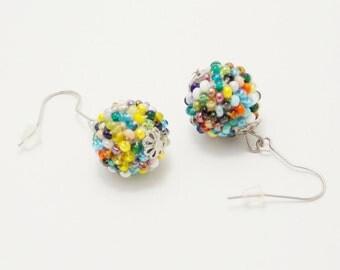 Gift/for/women gifts/for/mom ball earrings unique earrings beaded earrings modern jewelry statement earrings special occasion fun earrings