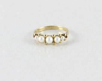 10k Yellow Gold Seed Pearl Ring Size 7