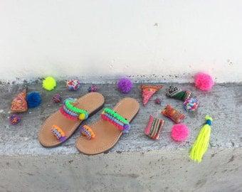 "RiRiPoM, Kids Leather Sandals, Greek Sandals, Boho Sandals, Girl's Sandals, Pom Pom Sandals, Friendship Bracelets, ""Mafalda"""