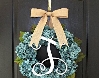 Hydrangea Wreath  Burlap  wreaths for door wreath Summer wreaths for door - Wreaths