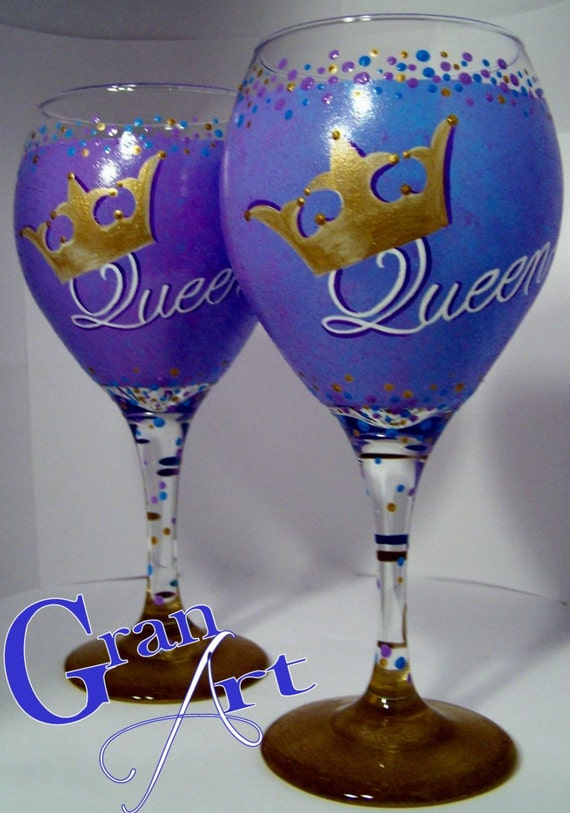 Items similar to queen wine glass purple hand painted for Painted wine glasses with initials
