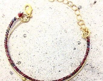 Bracelet double ring gold end and thread