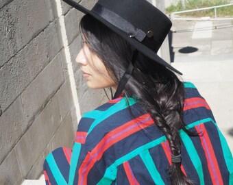 Flat top wool felt boater hat