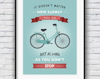 Inspirational Quote Poster, Confucius quote print, Retro poster, Motivational wall art, Quote wall art, Positive vibes