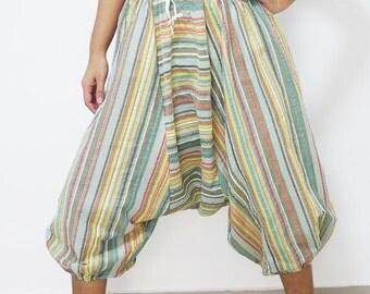 Blue yellow stripes cotton capris harem pants baggy yoga capris Aladdin pants baggy yoga pants tribal harem pants festival pants capri pants