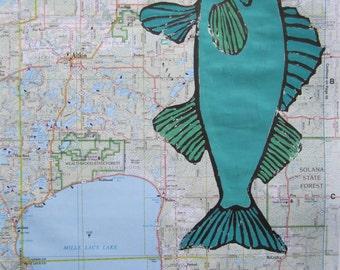 Walleye Fish Print, Minnesota Map, Walleye Print on Minnesota Map