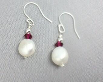 Red Ruby Swarovski and White Pearl Earrings, Long Dangle Earrings, Bridesmaid Gift, Baroque Pearl Earrings,