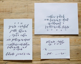 Calligraphy Invitation  - Custom + Handwritten for Modern Weddings + Parties
