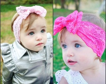 Baby girl headband, pink or hot pink lace double bow headband, baby bows, pink headband, hot pink headband, baby head wrap, 1st birthday