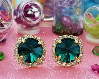 Emerald Earrings, Emerald Stud Earrings, Emerald Green Earrings, Swarovski, Emerald Birthstone Gift, Diamond Anniversary, E3340