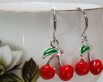 Red Cherry Earrings, Fruit Jewelry, Enameled, Cherry Charm, Silver Earrings, Christmas Gift, Picnic Earrings, Red Cherries, Food, E5304