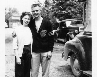 Vintage Photo..College Sweethearts 1950's, Original Photo, Old Photo Snapshot, Vernacular Photography, American Social History Photo