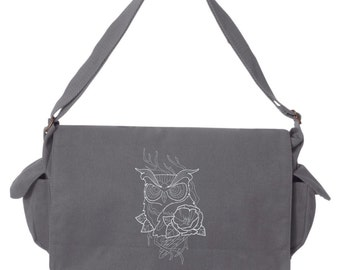 Owl Messenger Bag, Chic Needlework - Owl Embroidered Canvas Cotton Messenger Bag