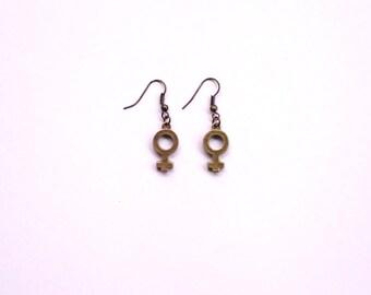 Feminist Earrings, Venus Symbol Earrings, Feminist Symbol Earrings, Woman Symbol Earrings