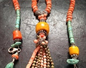 Christmasinjuly Turquoise, Coral and Amethyst Tassel Necklace