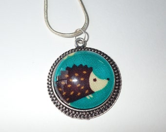 Hedgehog fabric necklace/hedgehog woodland pendant for girls