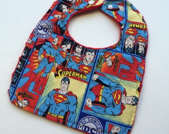 DC Comics - Superman Baby Bib - Adorn It - Reversible Minky Bibs -Red Minky - Boutique -Baby/Toddler