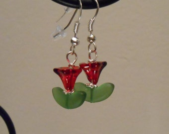 Red Flower Earrings Item No. 13