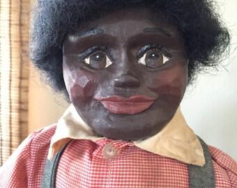 """Maynard Arnett Black Americana Folk Art Doll """"Luke""""  No 68 of 4000 1980's Retired Figure"""