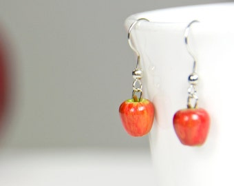 Apple Earrings, Dangle Earrings, Fruit Jewelry, Snow White Jewelry, Autumn, Gifts for Her, Back to School, Autumn Accessories, Fall, Apples