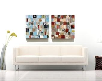 5 ft MODERN ART mosaic mixed media abstract art block painting modular wall art