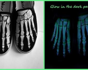 Boney shoes, custom handpainted skeleton Glow in the Dark shoes, skeleton feet, boney vans, boney slip on