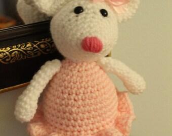 Handmade Crochet Ballerina Mouse / Photo Prop Amigurumi / Little Girl Ballet Gift / Perfect Baby Shower Gift / under 50