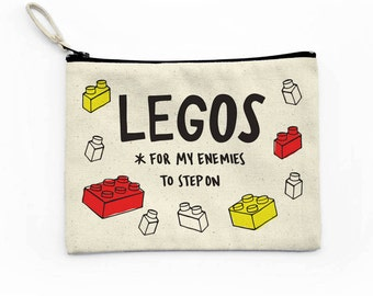 Legos For My Enemies Canvas Pouch, Makeup Bag, Canvas Bag, Cosmetic Bag, Funny Bag Saying