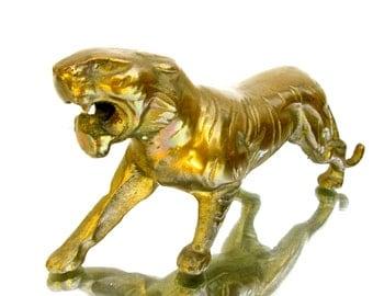 "9.5"" Vintage Brass Tiger Figurine || Mid-Century Hollywood Regency Home Décor"