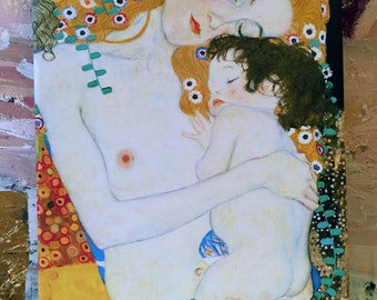 Gustav Klimt Mother and Child Canvas Painting Wall Art