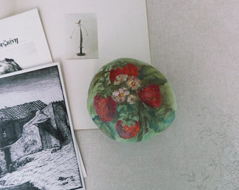 Strawberries hand painted beach stone, sea rock.