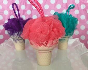 Ice Cream Soap - Loofah Soap - Luffa Soap - Ice Cream Cone Soap - Party Favors - Soap On A Rope - Sweet Soap - Dessert Soap - Travel Soap