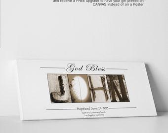 Godson Christening Gift - Godson Baptism Gift - Personalized Godson Print - Baptism Keepsake - Baptism Gift Christening - Canvas Promo -
