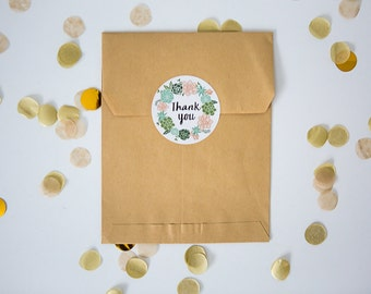 20 Round Stickers // Succulent Thank You